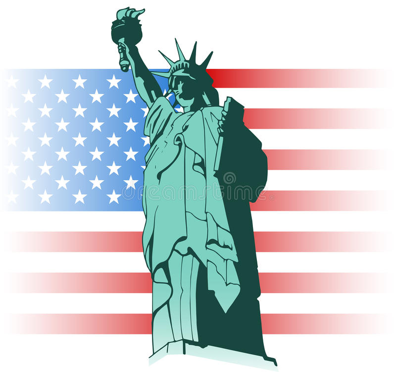 Statue of Liberty and US flag