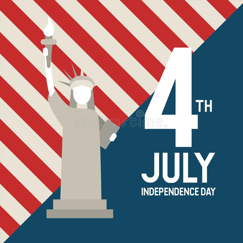 Statue of Liberty USA, July 4 th Independence day. Vector stock illustration