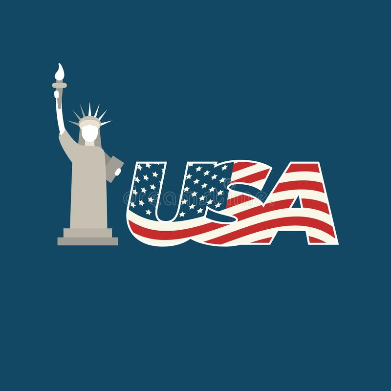 Statue of Liberty USA, July 4 th Independence day. stock illustration