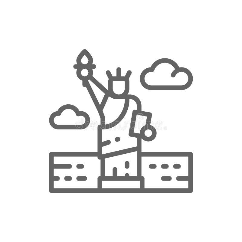Statue of Liberty, USA, landmark line icon. vector illustration
