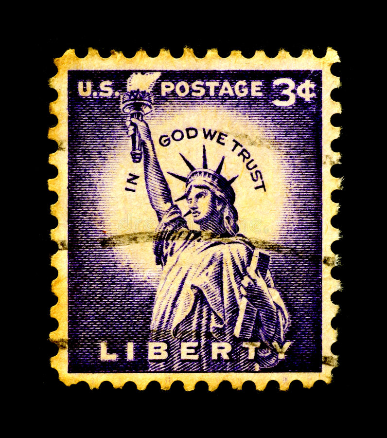 Statue of Liberty on USA Stamp stock photo