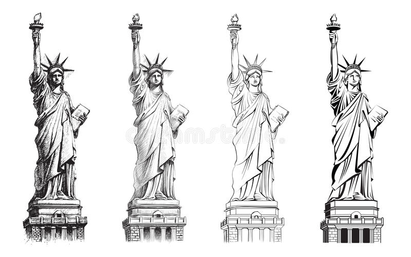 Statue of liberty, vector collection of illustrations. stock illustration