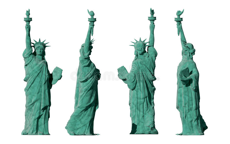 Statue of liberty. 4 views. isolate on white background. 3d render royalty free stock photography