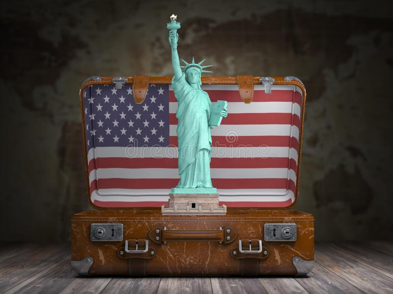 Statue of liberty and vintage suitcase with flag of USA. Travel and tourism to NY New York city and USA concept royalty free illustration