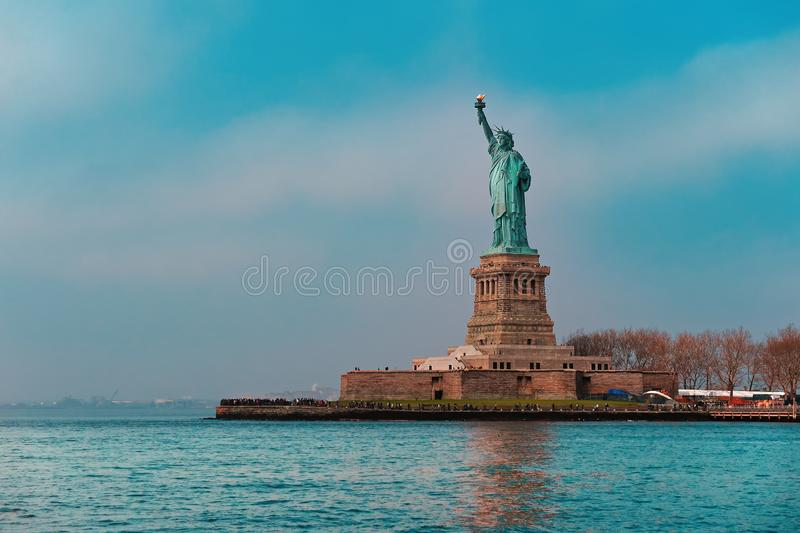 Statue of liberty wide view Manhattan New york City stock photos