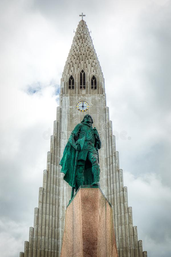 Statue of Lief Erikson in front of the Hallgrimskirkja church in reykjavik stock image