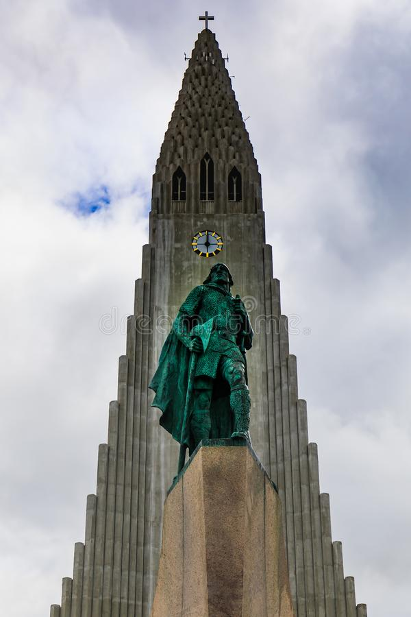 Statue of Lief Erikson in front of Hallgrimskirkja in reykjavik. The statue of Lief Erikson in front of the Hallgrimskirkja church in reykjavik, iceland royalty free stock photos
