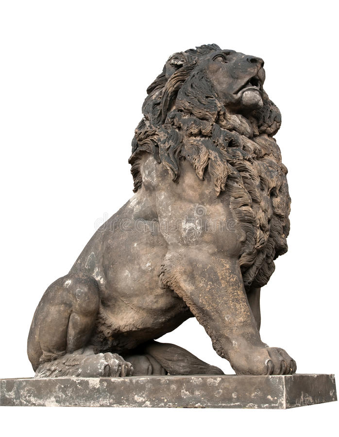 Statue of lion, isolated, royalty free stock images