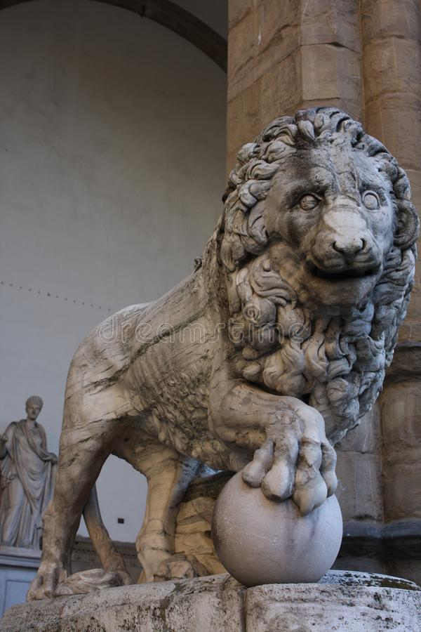 Statue of Lion on Piazza della Signoria, Florence, Italy.  royalty free stock photography