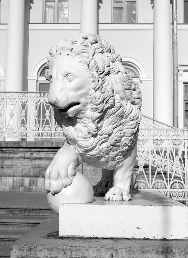 Statue of lion. In Yelagin park in St.Petersburg, Russia. Black and white royalty free stock photography