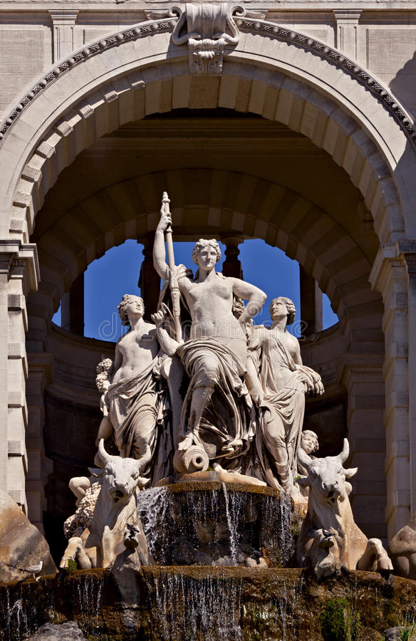 Statue at the Longchamp palace, Marseille stock images