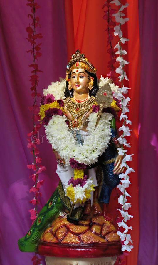 Statue Of Lord Murugan. Also known as Lord Subramania with spear royalty free stock photos