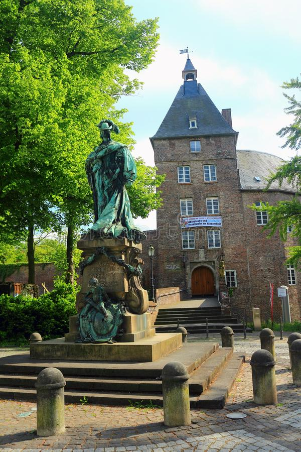 Statue of Louise Henriette von Brandenburg in Front of Moers Castle, North Rhine-Westphalia, Germany royalty free stock images