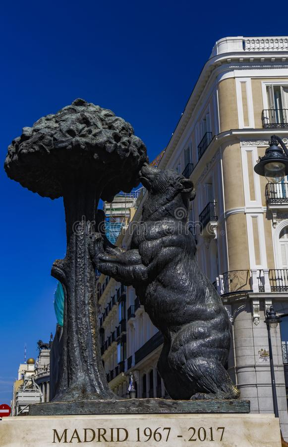 Statue Madrids, Spanien des Bären und des StrawberryTree stockfotos