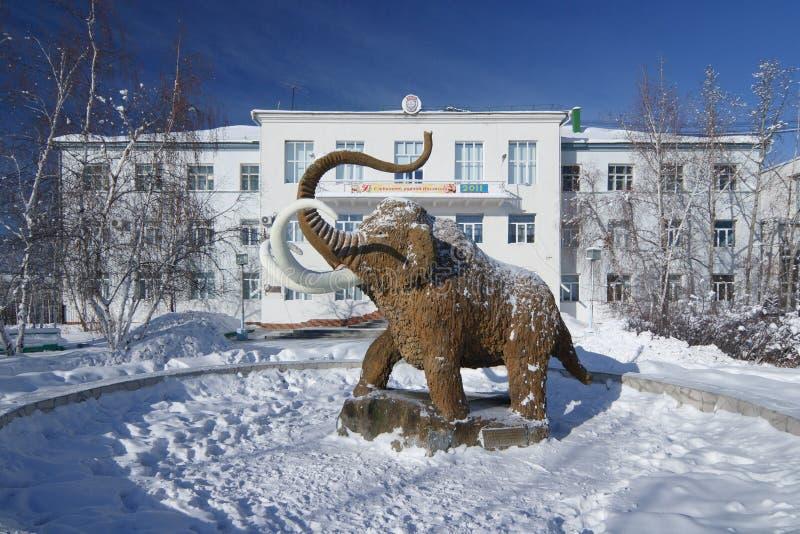Statue of Mammoth in Yakutsk stock image