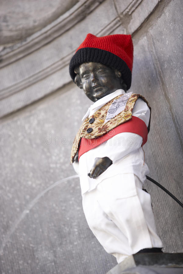 Statue Of Mannekin Pis In Brussels. In Europe stock photography