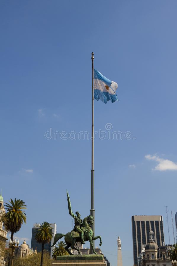 The Statue of Manuel Belgrano on the Plaza de Mayo in Buenos Aires, Argentina stock images