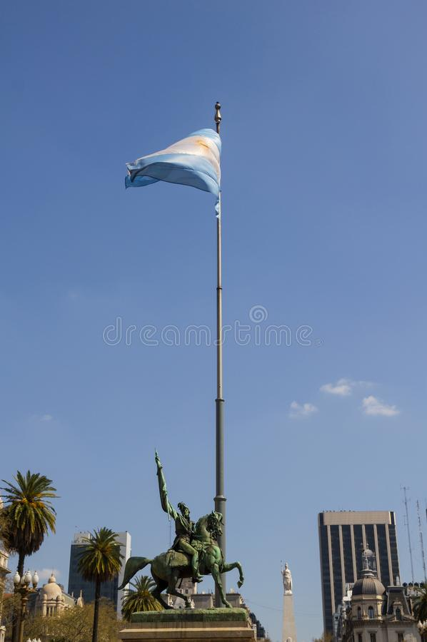 The Statue of Manuel Belgrano on the Plaza de Mayo in Buenos Air royalty free stock photography
