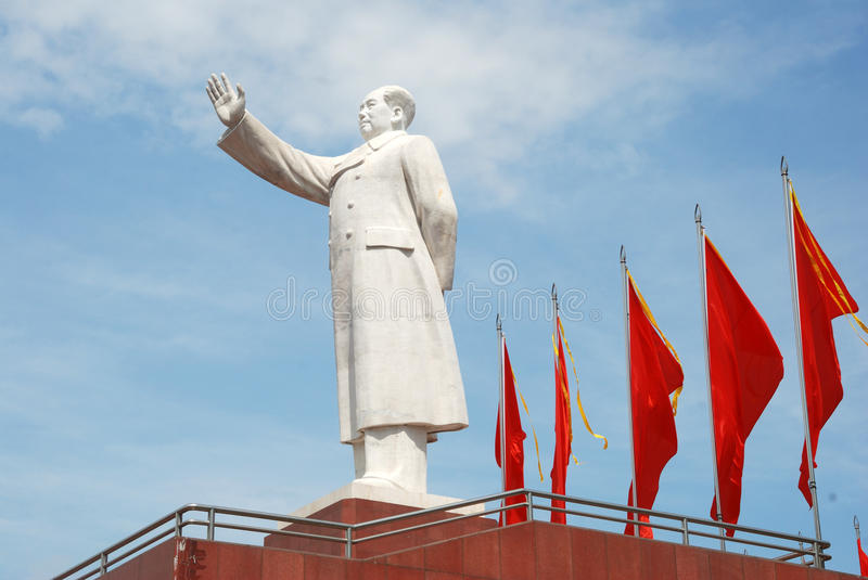 Statue of Mao zedong with red flags. Statue of Mao zedong in Chengdu, Sichuan, west of China. It lies the center of Chengdu stock photos