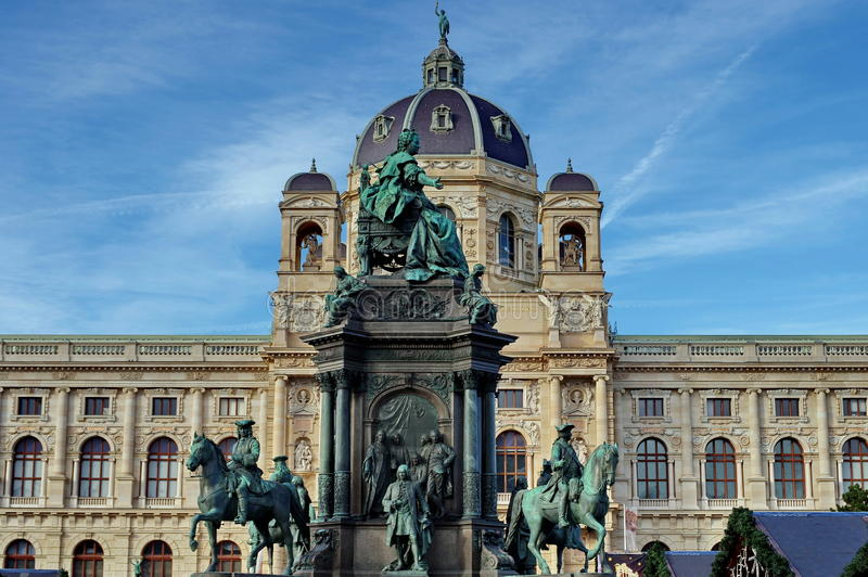 Statue of Maria Theresa and the Museum of Natural History in background - landmark attraction in Vienna, Austria.  royalty free stock photography
