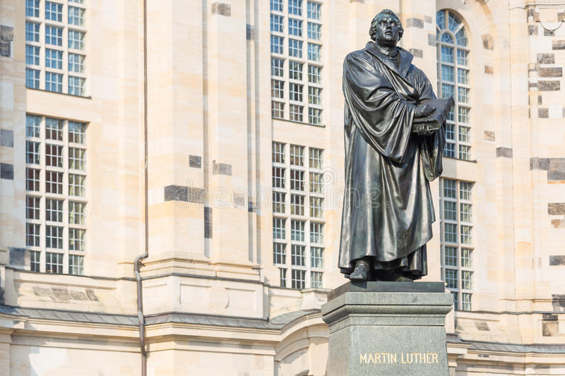 Statue of Martin Luther in front of Frauenkirche in Dresden, Ger stock images