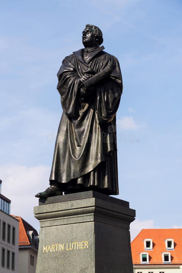 Statue of Martin Luther in front of Frauenkirche, Dresden, Germany stock image