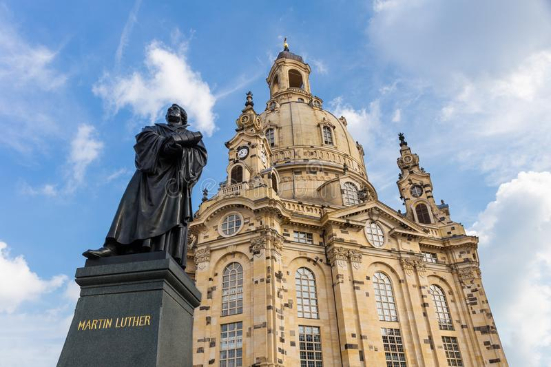 Statue of Martin Luther in front of the Frauenkirche in Dresden, Germany stock photography
