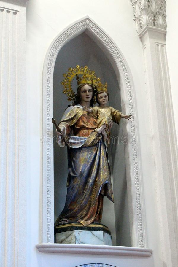 The statue of Mary and Baby Jesus at a Japanese Catholic Church stock photos