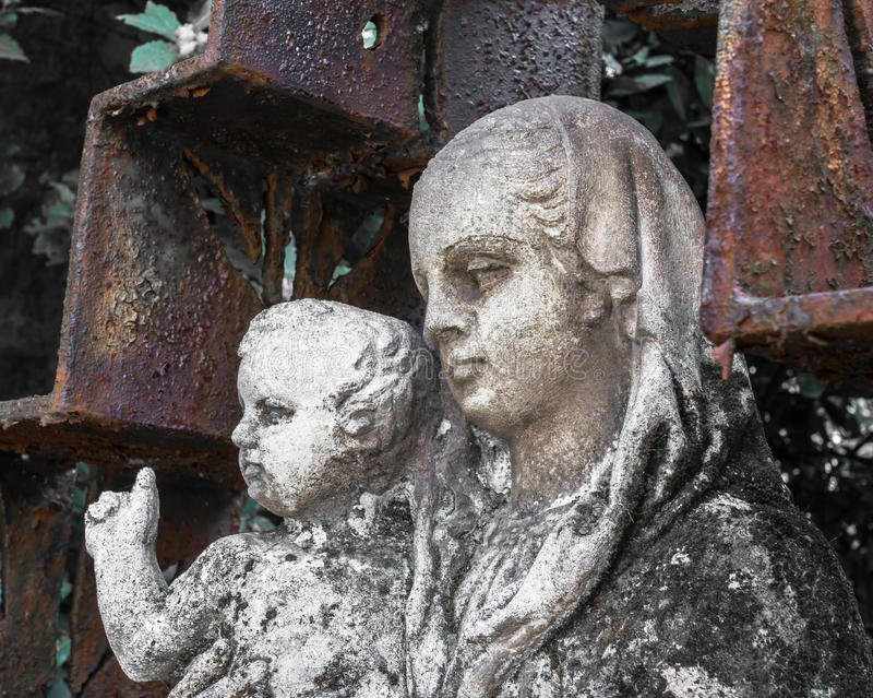 Statue of Mary and Jesus stock photos