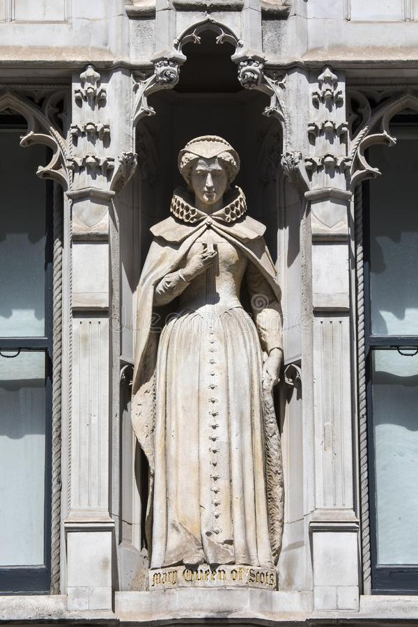 Mary Queen of Scots Statue in London. Statue of Mary Queen of Scots on the facade of a building on Fleet Street in the City of London, UK. She is also known as stock photo