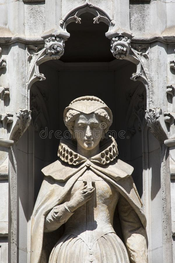 Mary Queen of Scots Statue in London. Statue of Mary Queen of Scots on the facade of a building on Fleet Street in the City of London, UK. She is also known as royalty free stock image