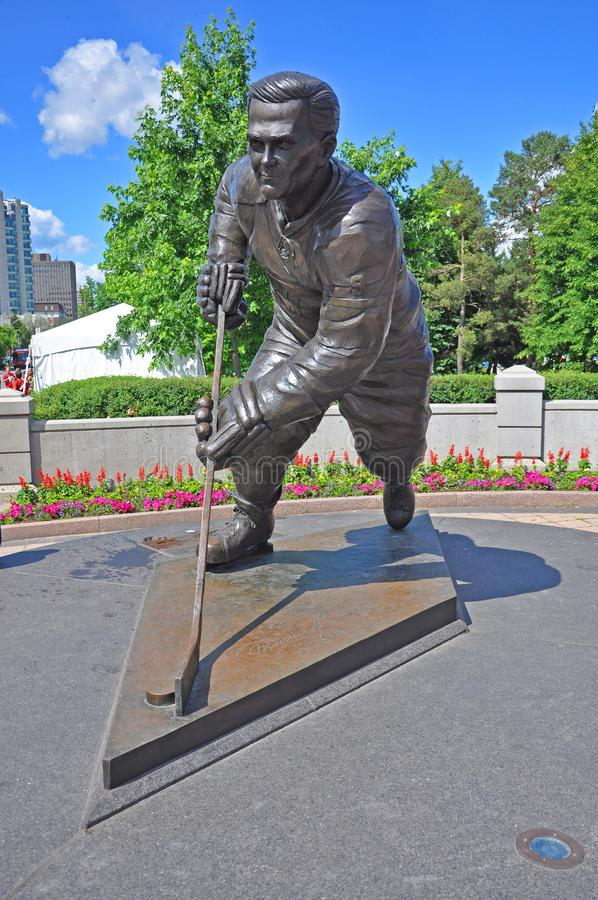 Statue of Maurice Richard at Jacques Cartier Park, Ottawa stock photos
