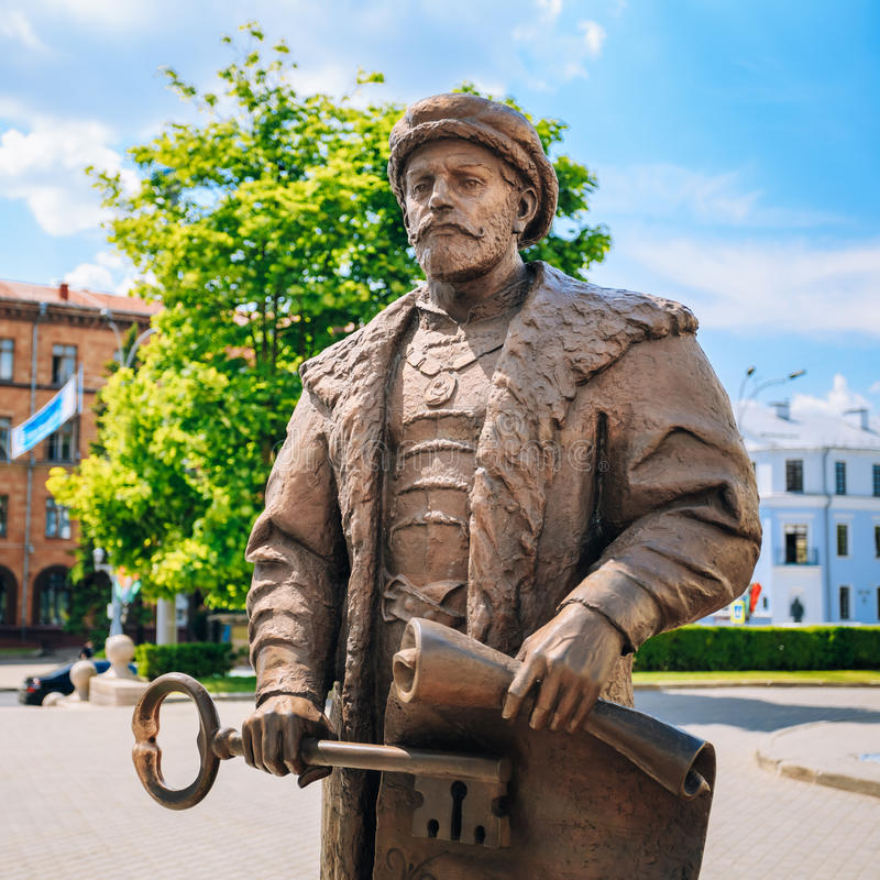 Statue of the Mayor with the key and a royal. Charter in the hands symbolizing the acceptance of the status of the city of Minsk in Magdeburg Law. Minsk royalty free stock images