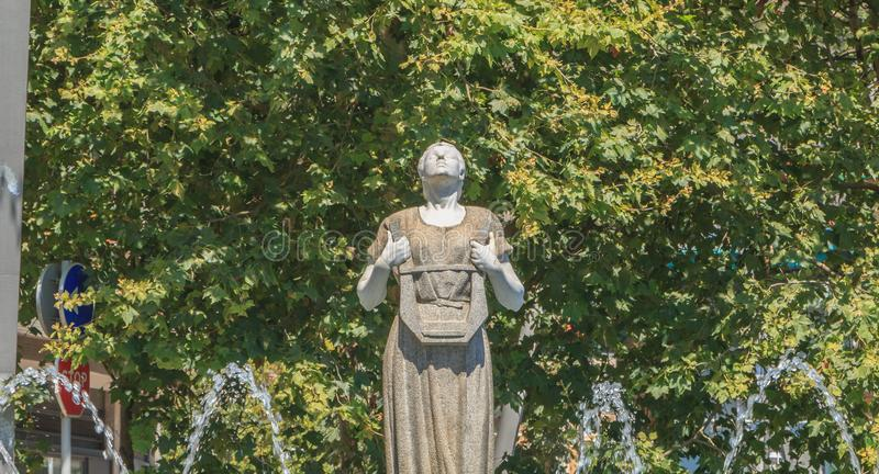 Statue of Melpomene in Greek mythology the muse of singing. Bilbao, Spain - July 19, 2016 : statue of Melpomene, in Greek mythology the muse of singing, carved stock photos