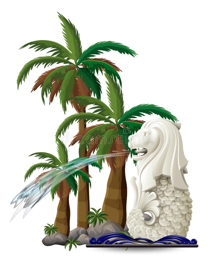 The statue of Merlion near the palm trees. Illustration of the statue of Merlion near the palm trees on a white background vector illustration