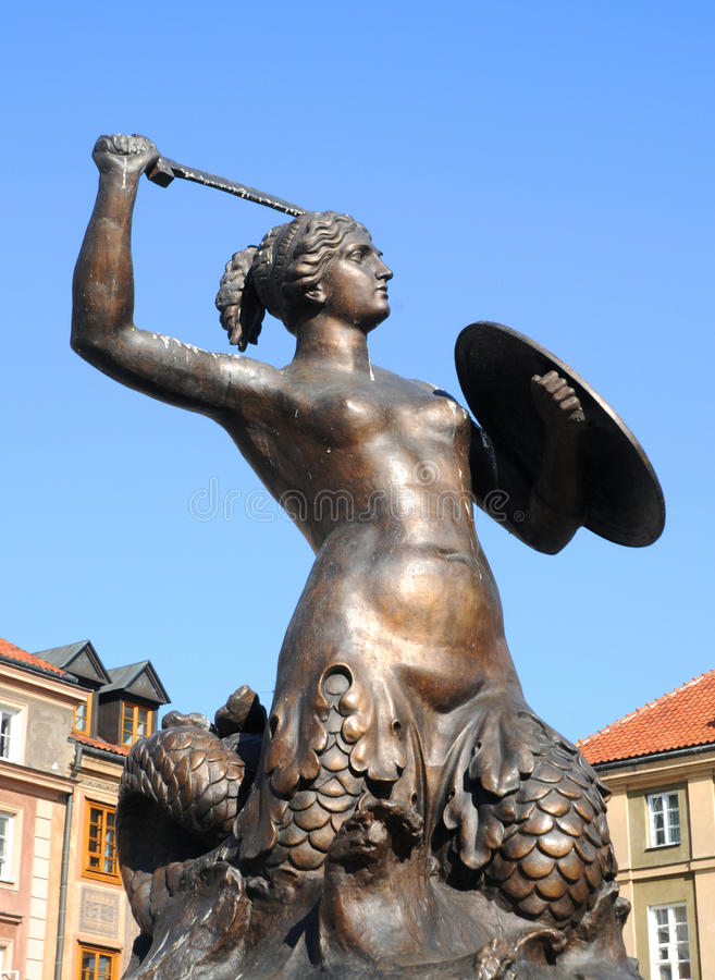 Statue of Mermaid, Old Town in Warsaw, Poland stock photography