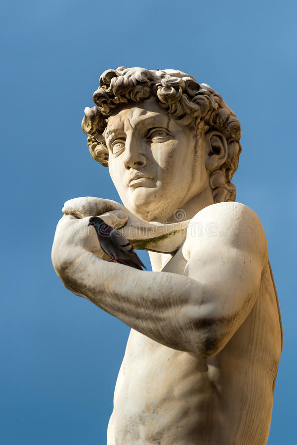 Statue of Michelangelo's David in front of the Palazzo Vecchio i stock photo
