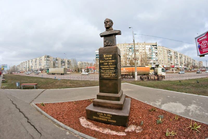 Statue Militärkommandanten, Marschall von der Sowjetunion Georgy Zhu lizenzfreie stockfotografie