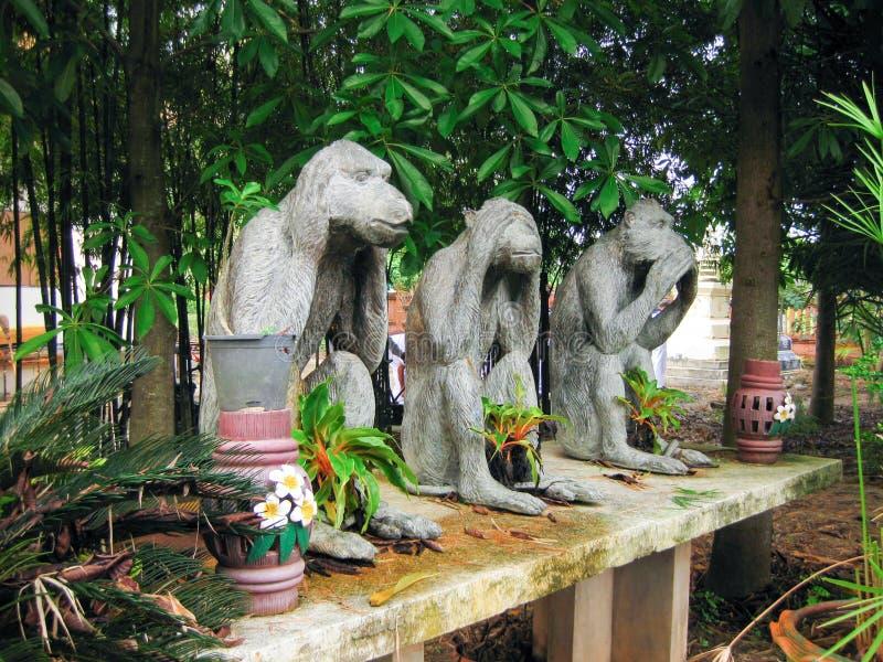 Statue monkey white stock photo