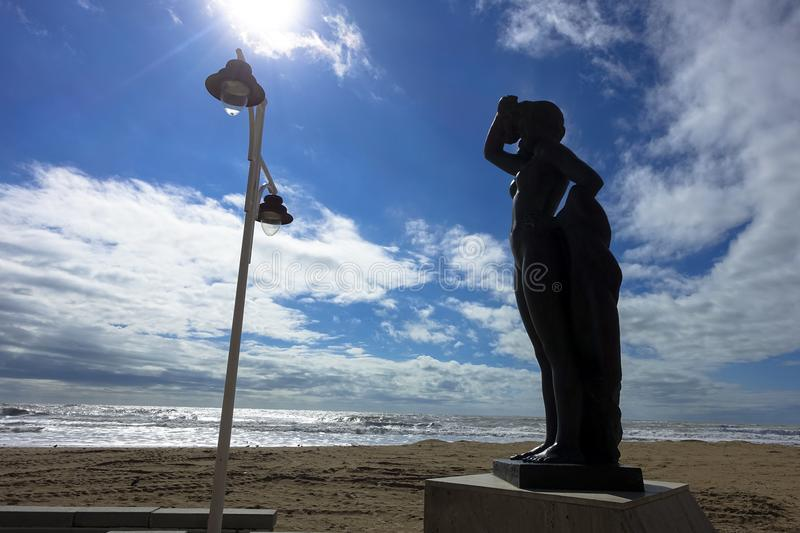 Statue, monument, beach and sea of Cadiz in Andalusia in Spain royalty free stock image