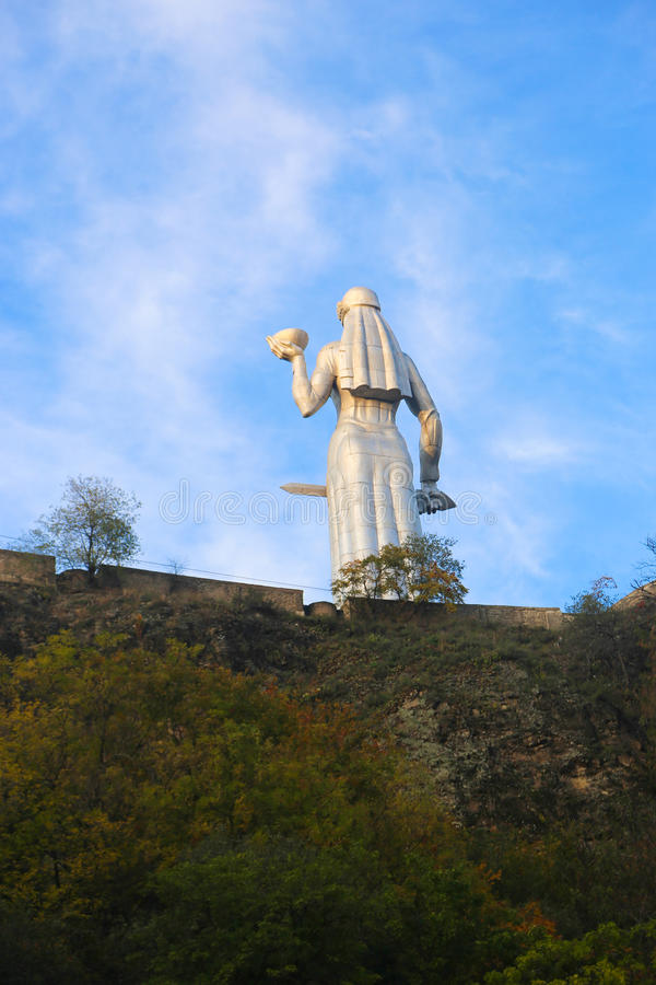 Statue of Mother Georgia. The memorial is 50 meters high and watches over Georgia from a hill above Tbilisi stock photos
