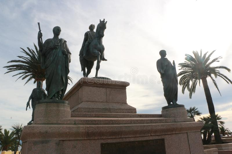 Statue of Napoleon Bonaparte on a horse in Diamant Square, Ajaccio, Corsica, France.  stock image