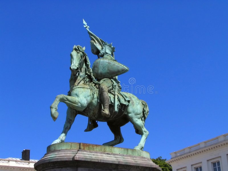 Statue of national hero in Brussels royalty free stock photo