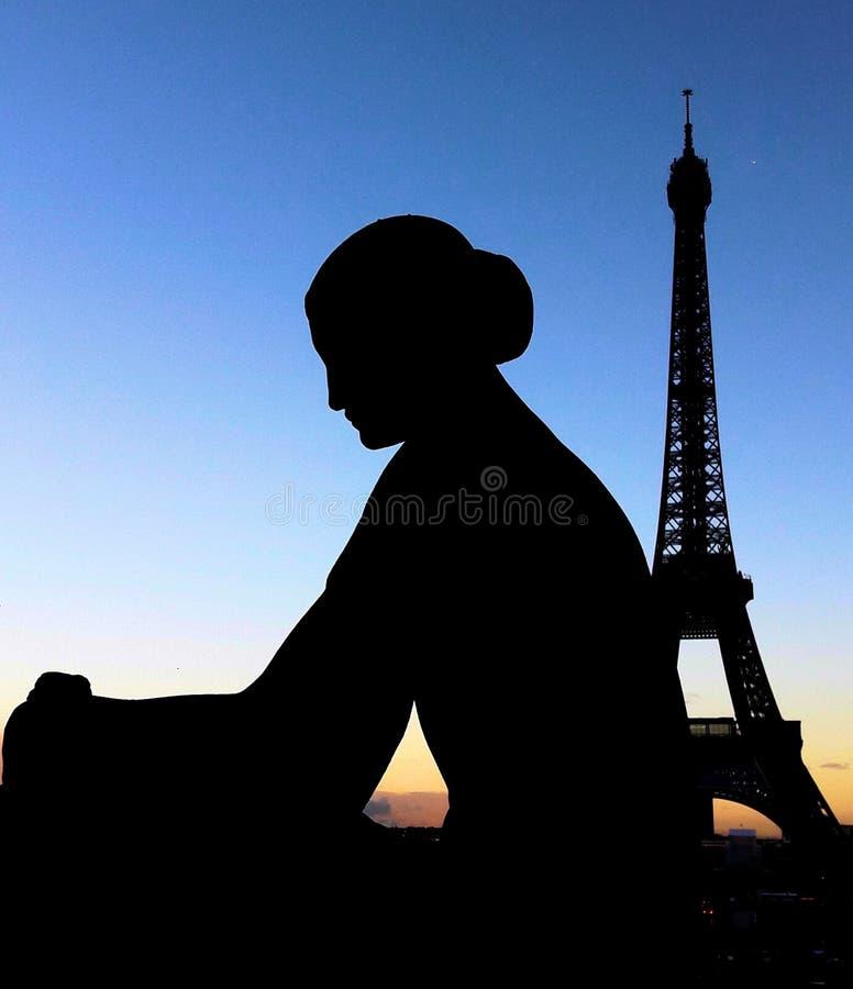 Statue near Eiffel Tower stock photography