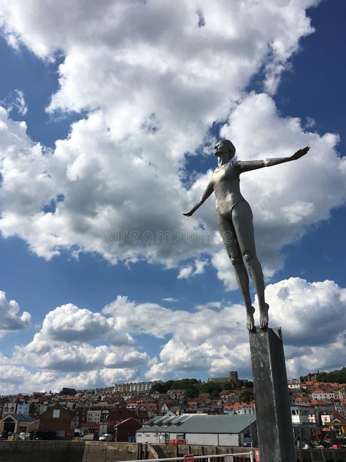 Scarborough, North Yorkshire, United Kingdom. Statue near the lighthouse at Scarborough, North Yorkshire, United Kingdom stock photography