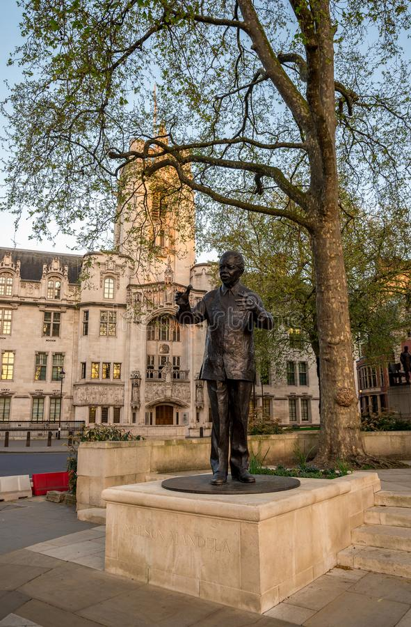 Statue of Nelson Mandela in Parliament Square Garden in Westminster, London. Statue of Nelson Mandela in Parliament Square Garden in Westminster, Central London royalty free stock images