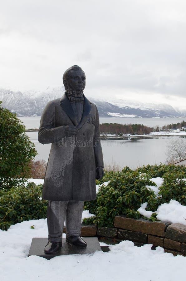 Statue of Nicolay Heinrich Knutdzon 3. Town builder of Kristiansund royalty free stock photos
