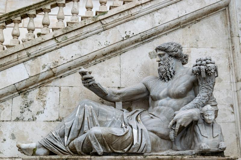 Statue of the Nile River god on Capitoline Hill, Rome royalty free stock photo