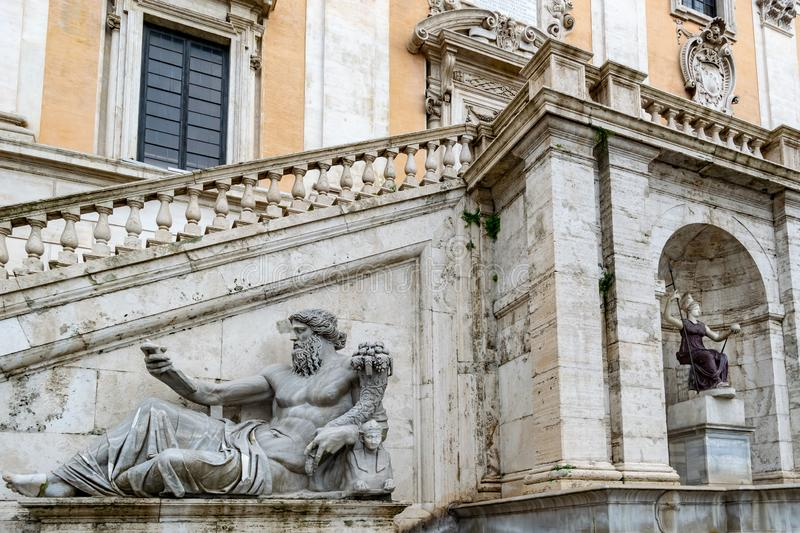 Statue of the Nile River god on Capitoline Hill, Rome stock photo
