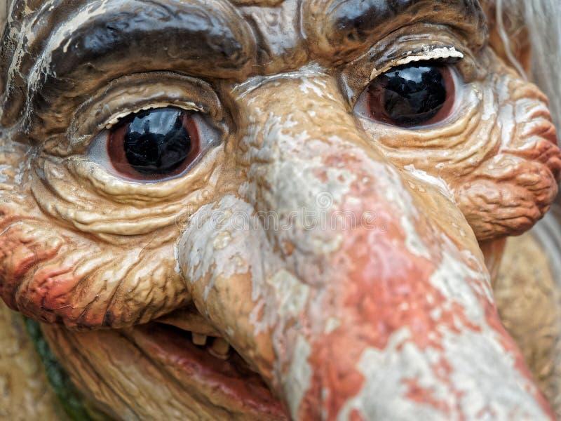 Statue norvégienne de caractère de visage de troll de plan rapproché image libre de droits